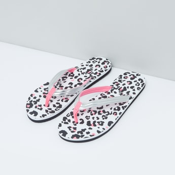 Animal Print Slippers with Slip On Closure