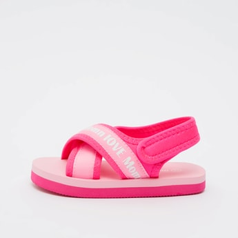 Text Print Cross Strap Sandals with Hook and Loop Closure