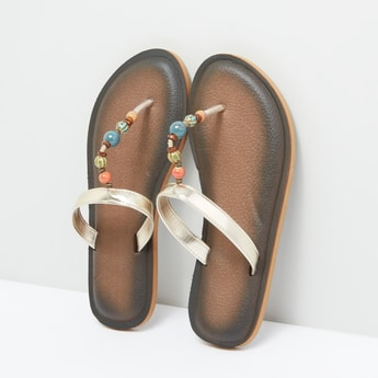 Beaded Strap Slides with Textured Sole