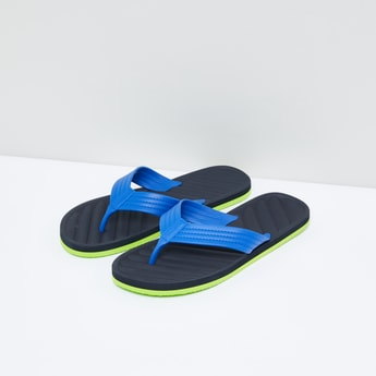 Textured Flip Flops with Stitch Detail Straps