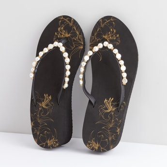 Eva Pearl Detailed Slippers with Slip-On Closure