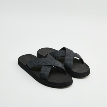 Typographic Textured Cross Strap Slippers