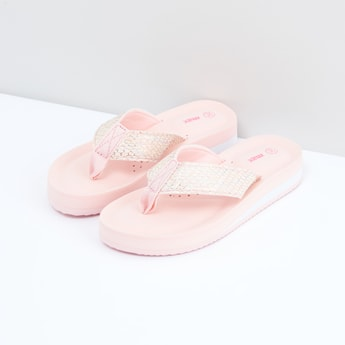 Perforated Flip Flops with Textured Straps