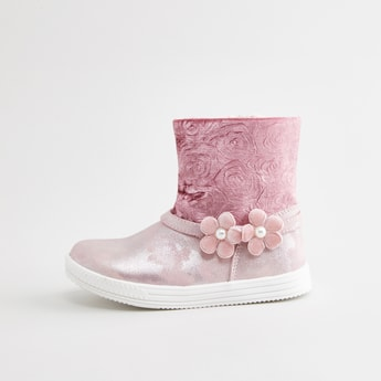 Textured Boots with Flower Applique Detail and Zip Closure