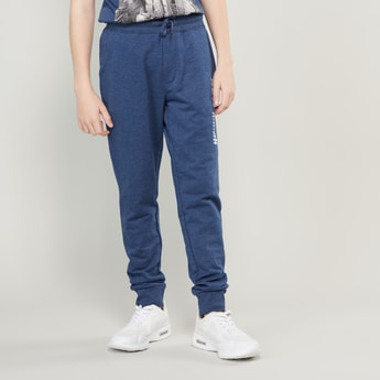 Text Printed Joggers with Pockets and Drawstring Closure