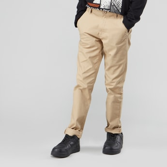 Plain Chinos with Belt Loops and Pocket Detail