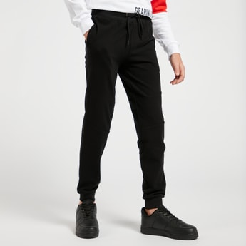 Solid Pique Jog Pants with Pockets and Drawstring