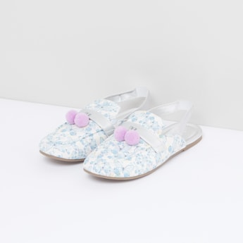 Printed Sandals with Pom-Pom Detail