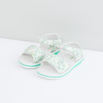 Butterfly Printed Sandals with Hook and Loop Closure