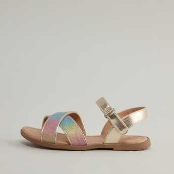Glitter Detail Strap Sandals with Hook and Loop Closure