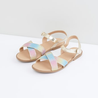 Glitter Detail Sandals with Hook and Loop Closure