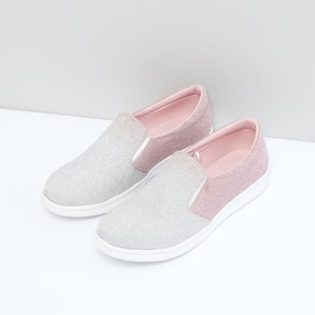 Glitter Slip-On Shoes with Elasticised Gussets