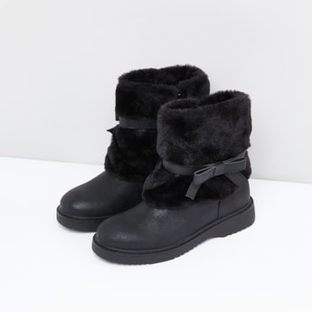 Plush Detail Boots with Zip Closure