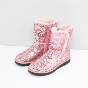 Sequin Detail Boots with Zip Closure