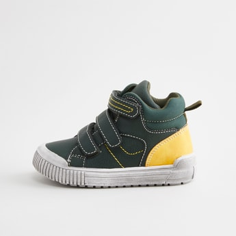 Textured High Top Shoes with Hook and Loop Closure