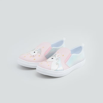 Slip-On Shoes with Unicorn Applique Detail