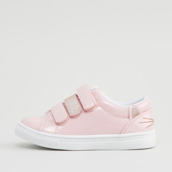 Glitter Detail Sneakers with Hook and Loop Closure