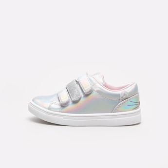 Glitter Detail Slip-On Sneakers with Hook and Loop Closure