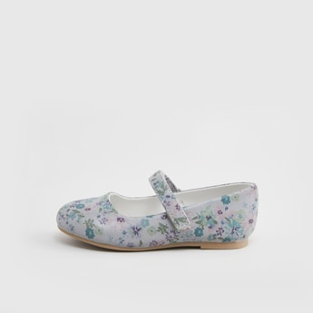 Floral Printed Mary Jane Shoes with Hook and Loop Closure