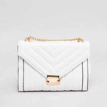 Textured Satchel Bag with Metallic Clasp