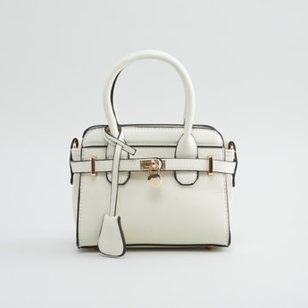Plain Hand Bag with Detachable Strap and Zip Closure