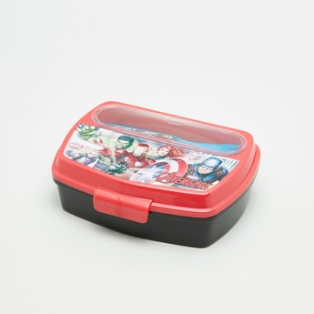 Avengers Printed Lunchbox with Fork and Spoon