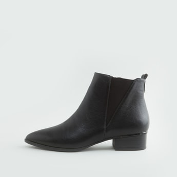 Textured Boots with Stacked Heels and Zip Closure