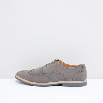 Panelled Derby Shoes with Brogue Detail