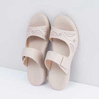 Cutwork Detail Sandals with Hook and Loop Closure
