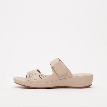 Perforation Detail Sandals with Hook and Loop Closure
