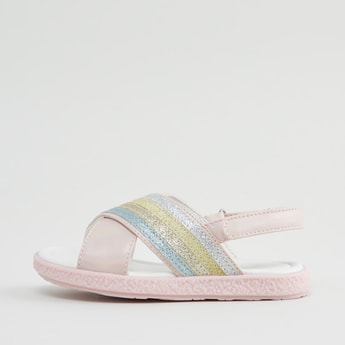 Striped Slingback Sandals with Glitter Detail