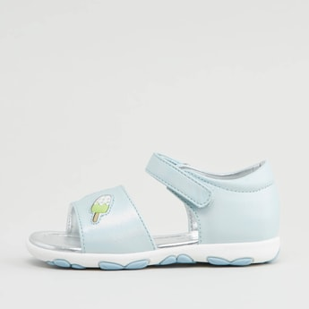 Applique Detail Floater Sandals with Hook and Loop Closure