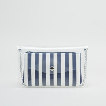 Transparent Crossbody Bag with Striped Pouch