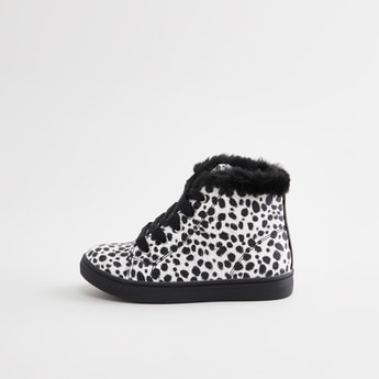 Printed High Top Shoes with Plush Detail and Lace-Up Closure