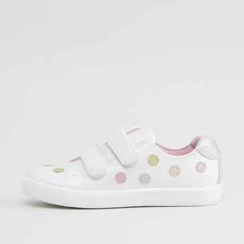 Glitter Applique Sneakers with Hook and Loop Closure