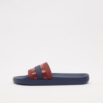 Solid Slides with Stripe Detail Vamp Band