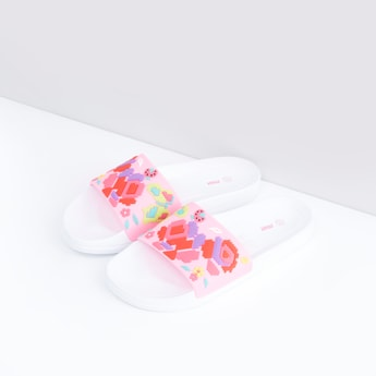 Textured Slides with Applique Detail Vamp