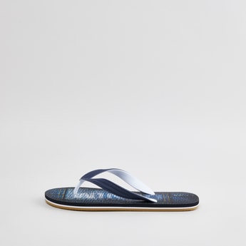 Printed T-strap Slippers with Slip-On Closure