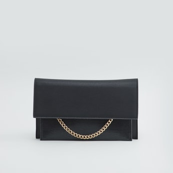 Plain Handbag with Applique Detail