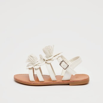 Flower Applique Detail Sandals with Pin Buckle Closure