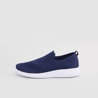 Textured Slip-On Sports Shoes with Pull Tab