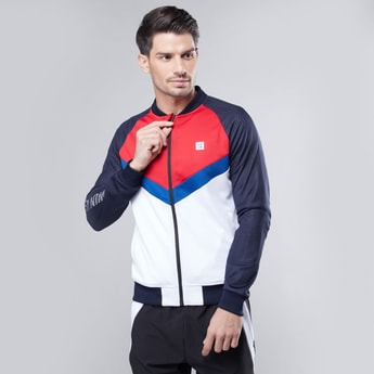 Colourblock Panelled Jacket with Ribbed Hems