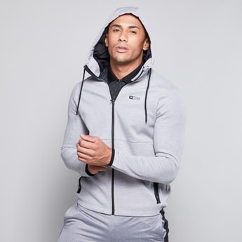 Pocket Detail Sweatshirt with Hood and Long Sleeves