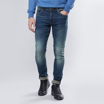 Skinny Fit Full Length Mid Waist Jeans with Pocket Detail