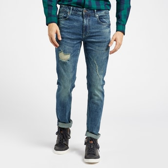 Skinny Fit Distressed Mid-Rise Jeans with Belt Loops and Pocket Detail