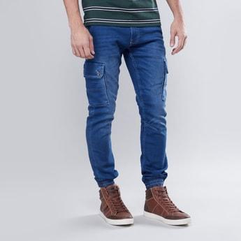Slim Fit Plain Cargo Jog Pants with Pocket Detail
