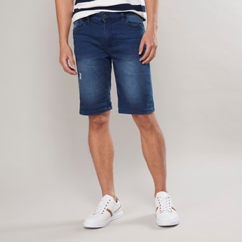 Slim Fit Textured Mid-Rise Denim Shorts with Belt Loops and Pockets