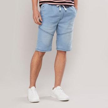 Slim Fit Panelled Denim Knee Length Shorts with Drawstring Waist
