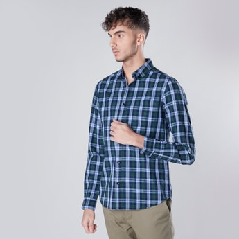 Slim Fit Checked Shirt with Patch Pocket and Long Sleeves