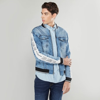 Printed Denim Bomber Jacket